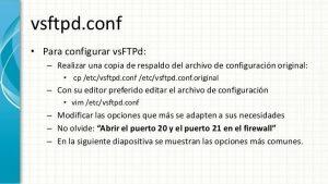 Opciones de configuración del fichero vsftpd.conf
