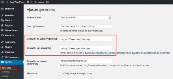 Ajustes generales Wordpress