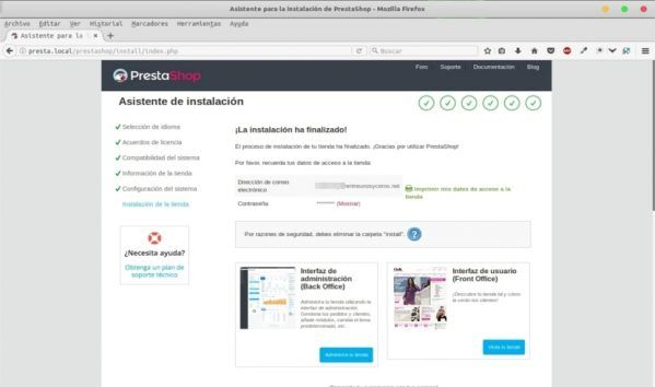 instalacion finalizada prestashop local