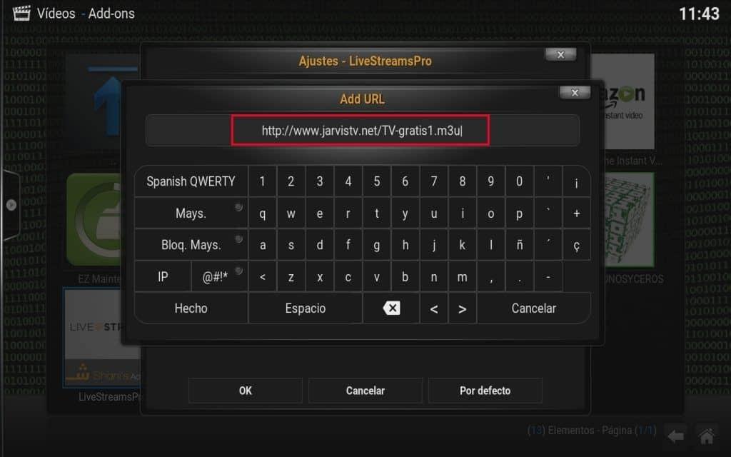 url remota añadida livestreampro