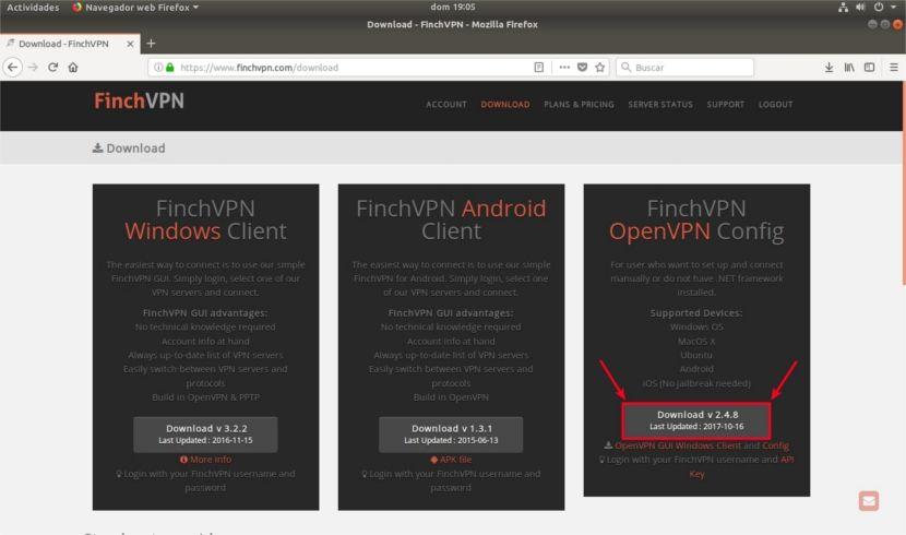 Descarga ficheros de configuración FinchVPN