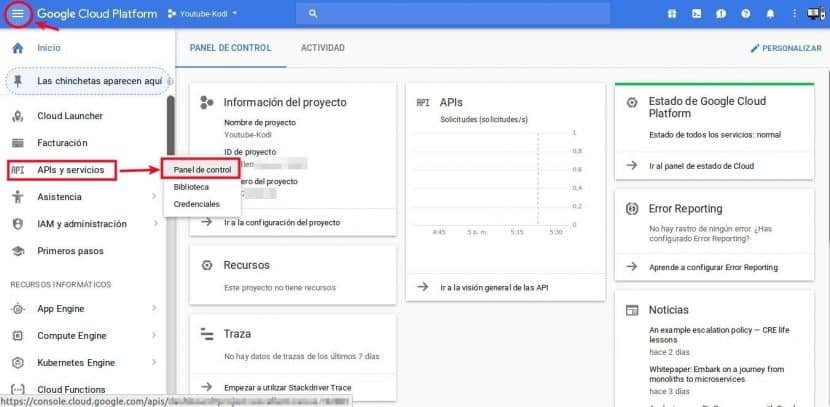 google cloud console APIS y Servicios