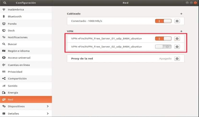 Servidores VPN configurados