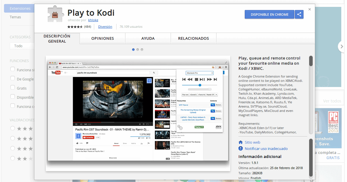 play to kodi chrome