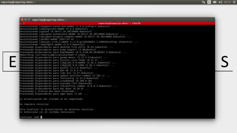 reinicio del sistema actualización Ubuntu 18.04