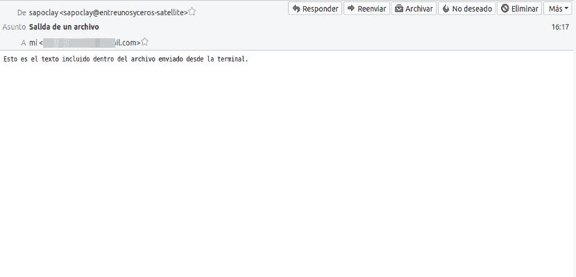 mail correo contenido archivo recibido