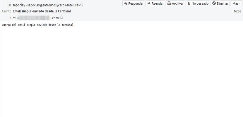 email simple enviado con mail recibido