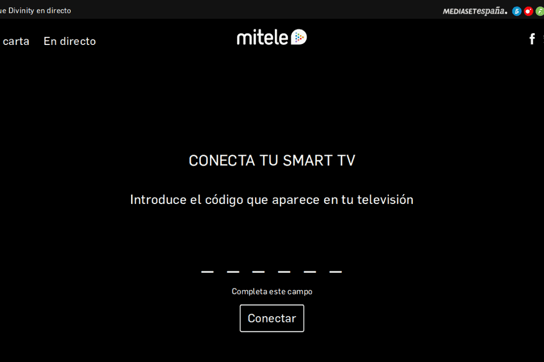 introduce el código mitele en la app de smart tv