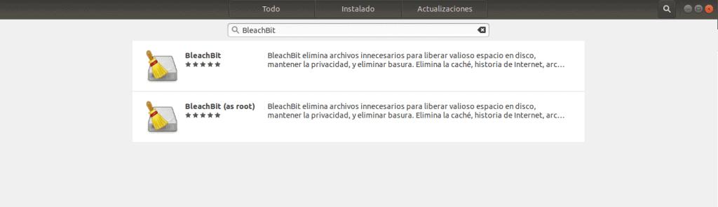 bleachbit instalación centro de software ubuntu limpiar ubuntu
