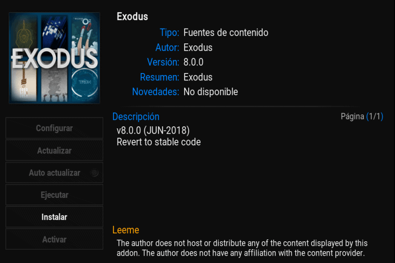 Exodus, instala este add-on de vídeo para Kodi