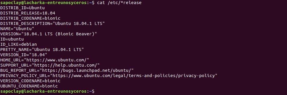 comando cat /etc/lsb-release en detalle