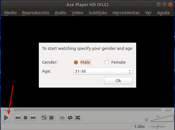 Primer inicio de ace stream player