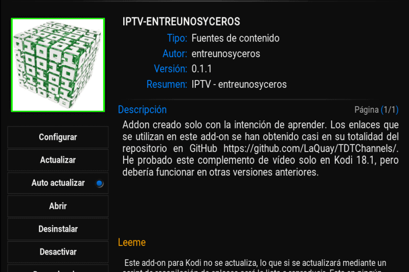 Add-on IPTV-ENTREUNOSYCEROS, reproduce TV en abierto desde Kodi