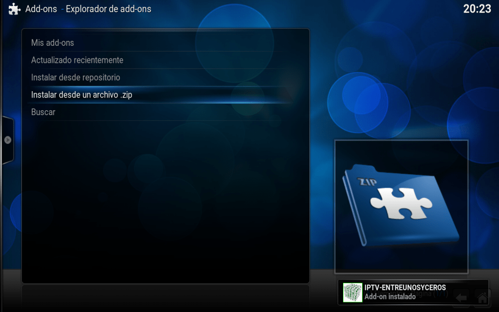 add-on iptv-entreunosyceros instalado