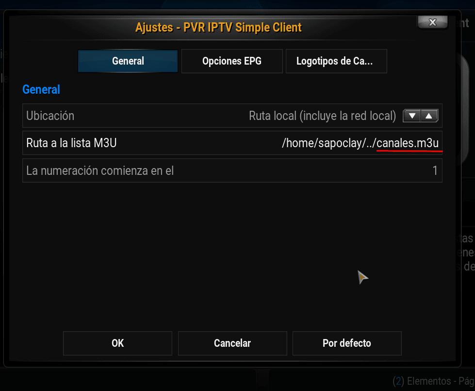 configuración iptv simple client lista m3u tdt