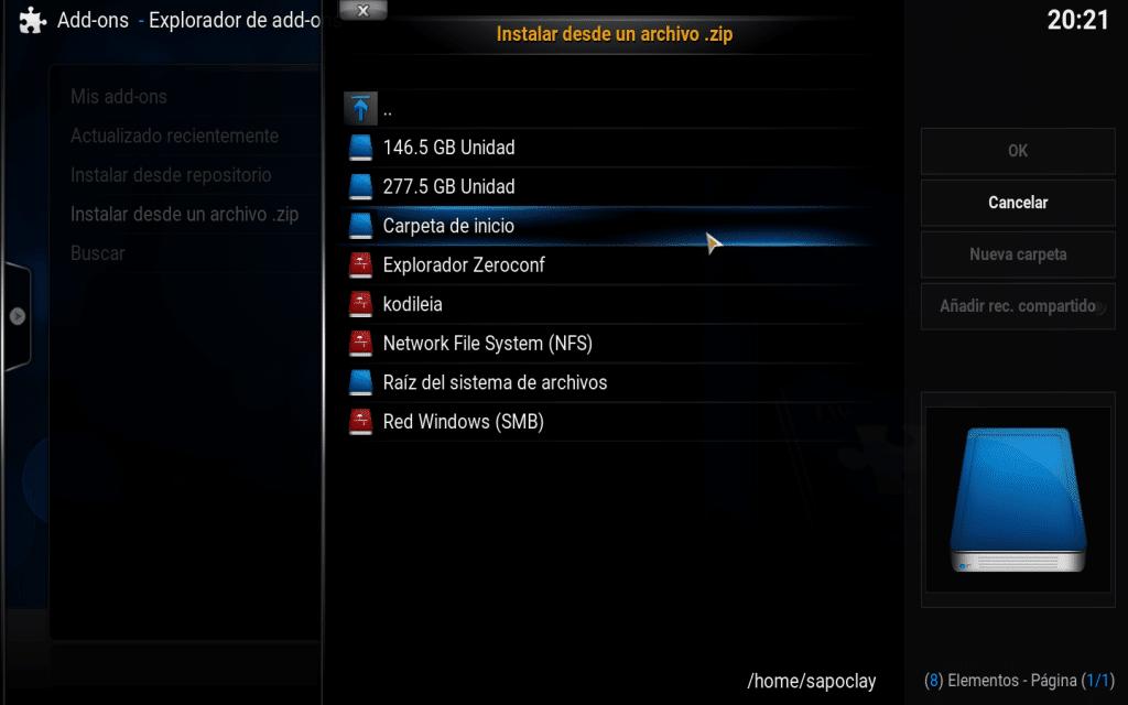 opciones archivos guardados desde Kodi