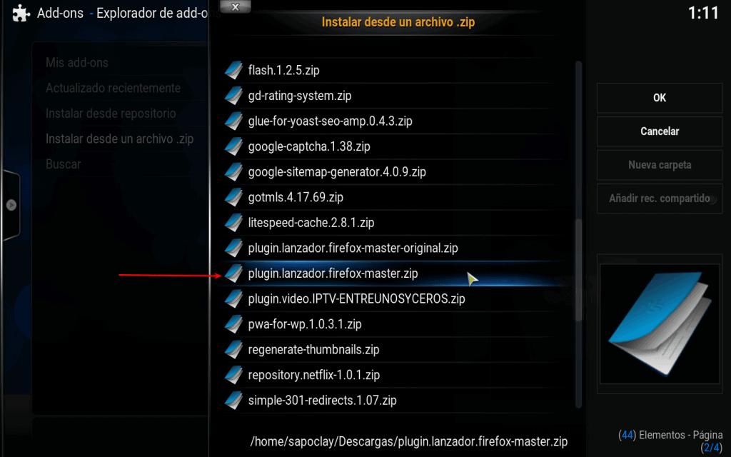 seleccionar plugin de vídeo Firefox