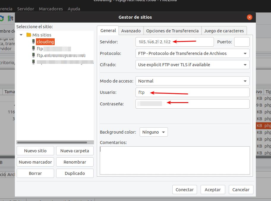 configuración FTP VPS