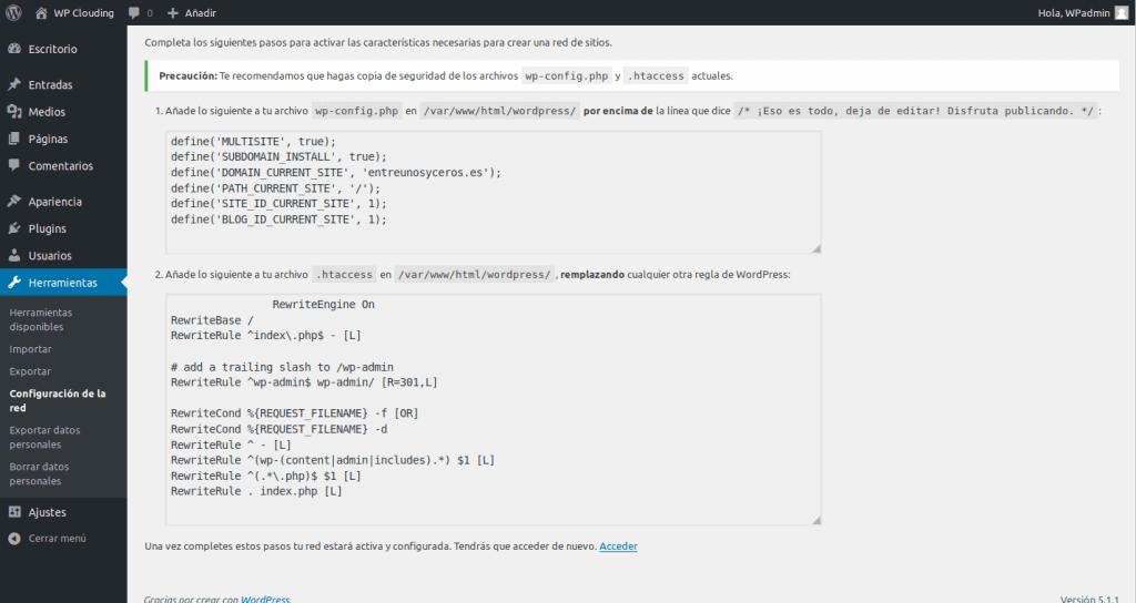 configuración wp-config y htaccess