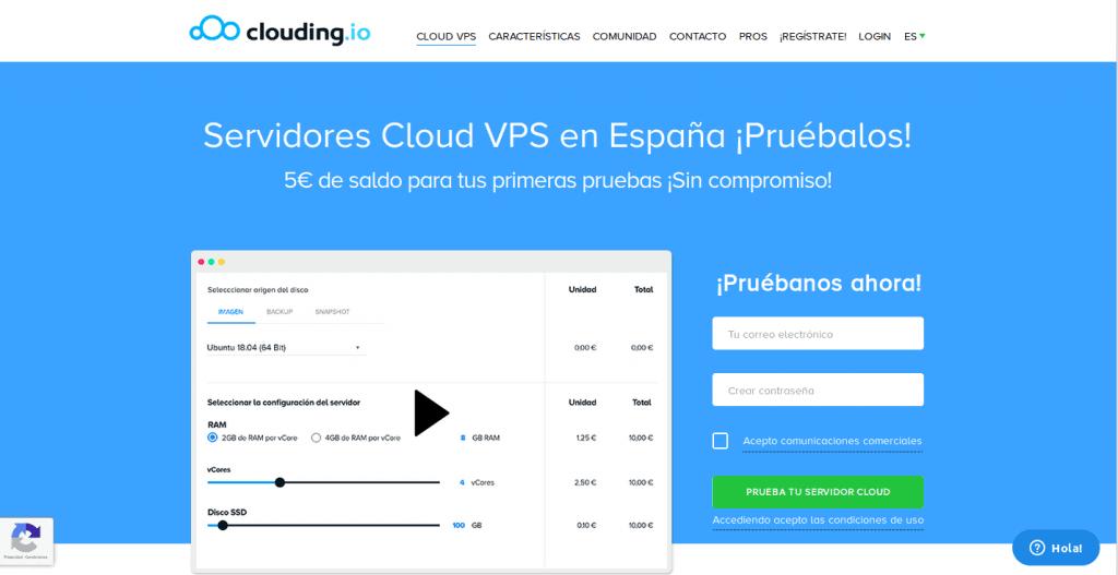 Página web de Clouding.io