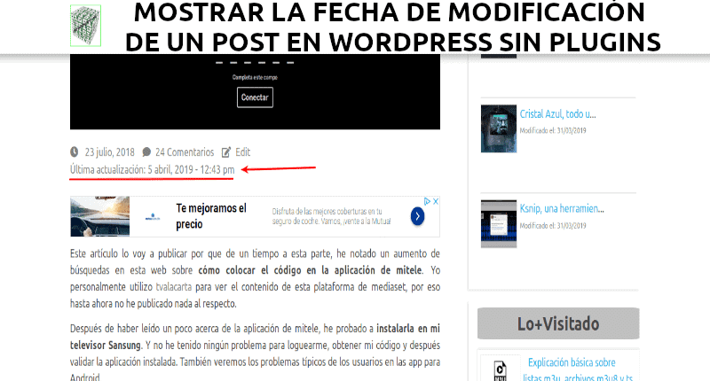 Mostrar la fecha de modificación de un post en WordPress sin plugins