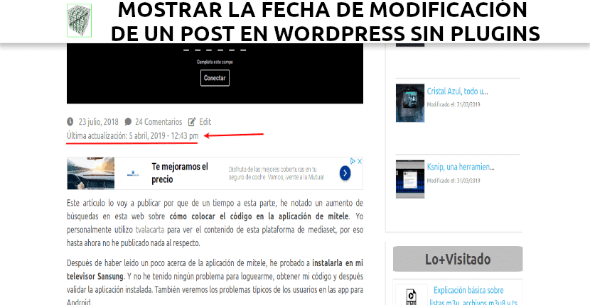 about mostrar última modificación de un post en wordpress sin plugins