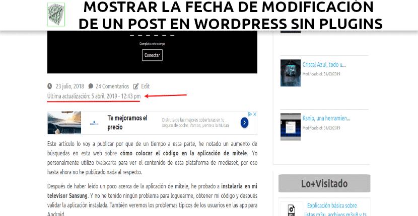 Mostrar la fecha de modificación de un post en WordPress sin plugins