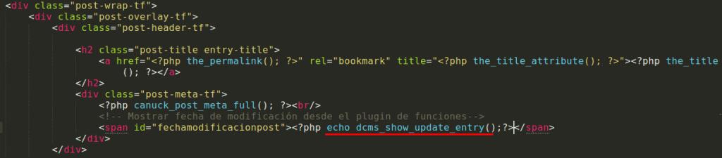 código para llamar la función para mostrar la modificación del post