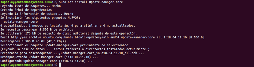 sudo apt install update manager core