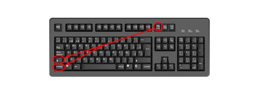 atajo de teclado shift control imprimir pantalla