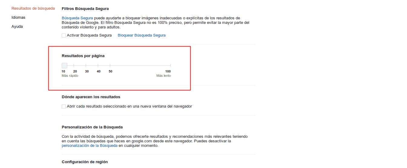 configuración de búsquedas en google