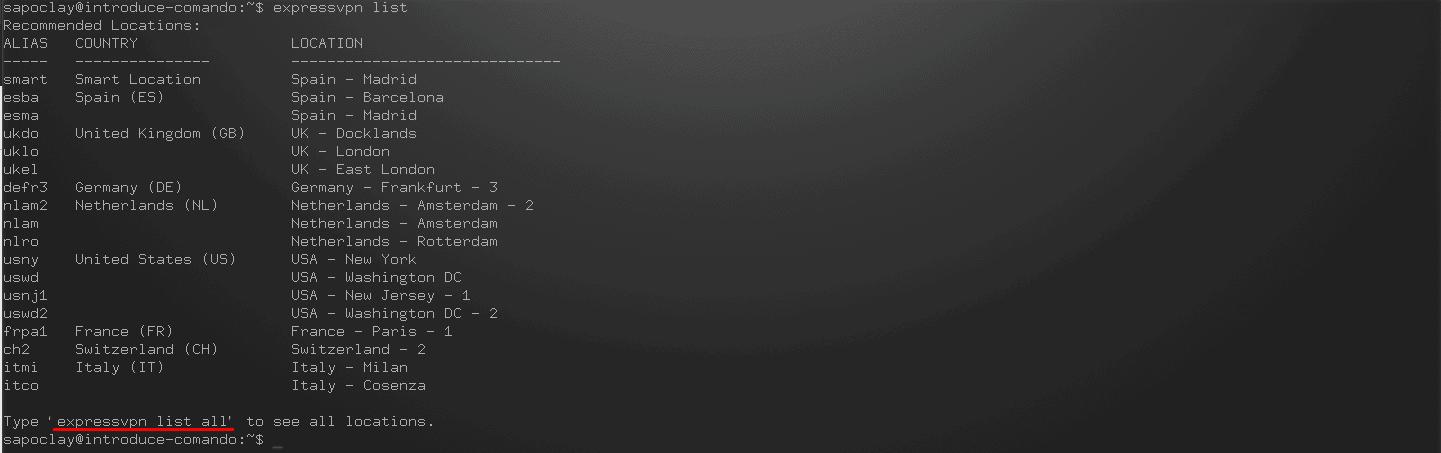 comando expressvpn list