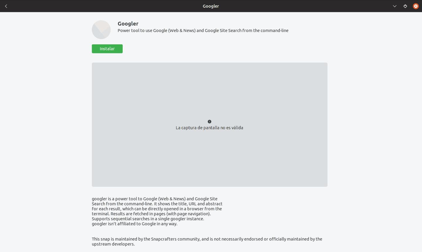 instalación de googler desde la opción de software