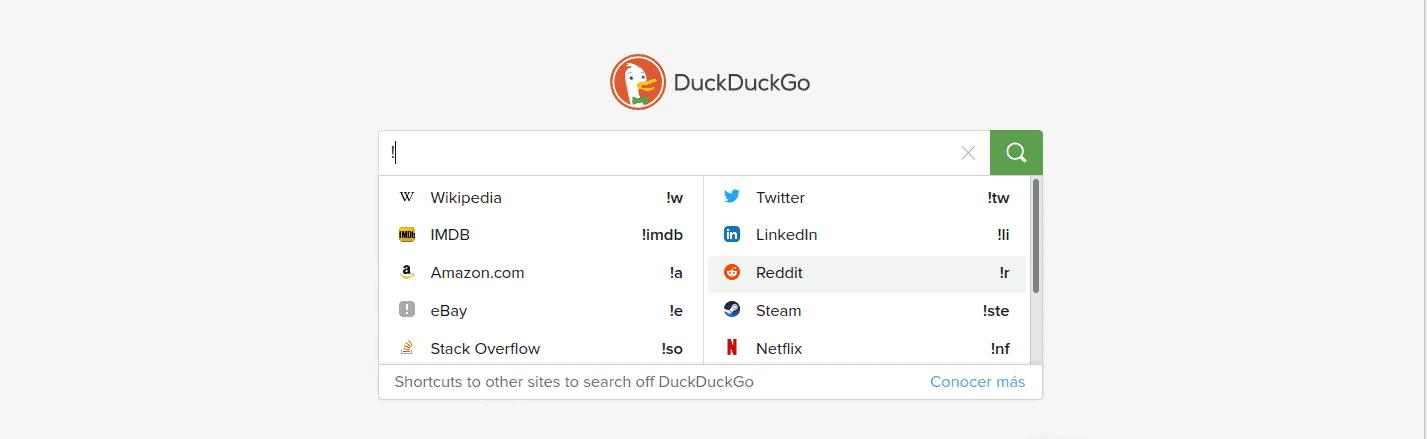 DuckDuckGo Bangs, busca directamente en tus sitios web favoritos