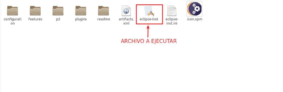 archivo para ejecutar el instalador de Eclipse