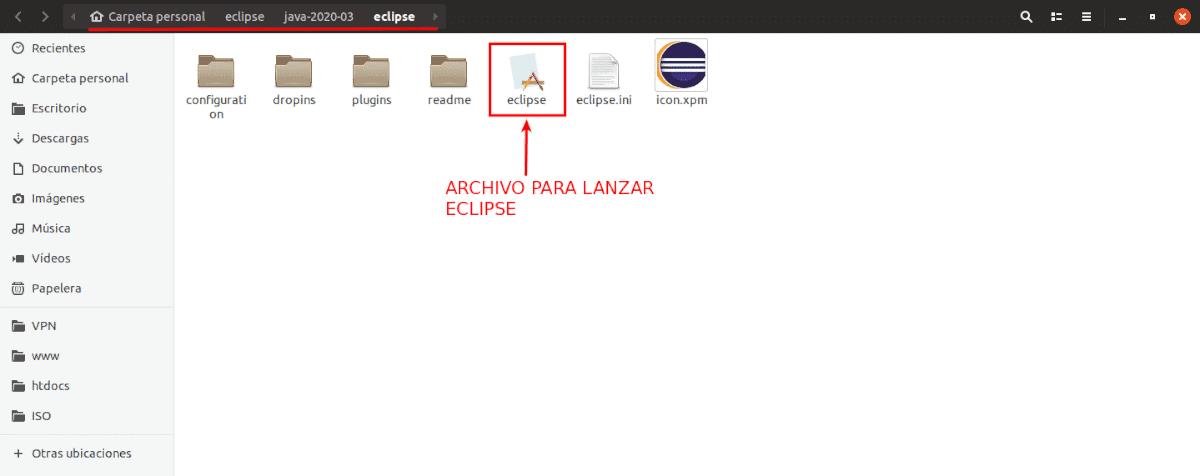Archivo para lanzar Eclipse