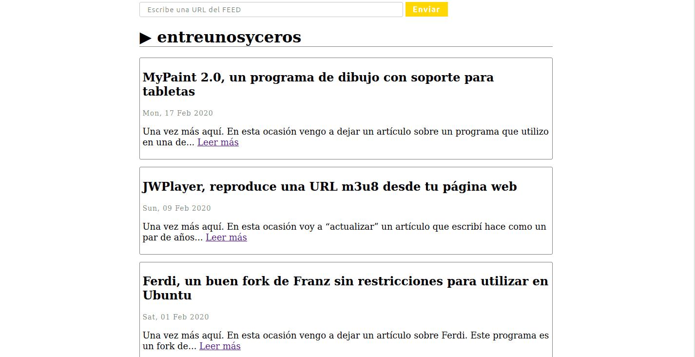 lectos RSS creado con PHP
