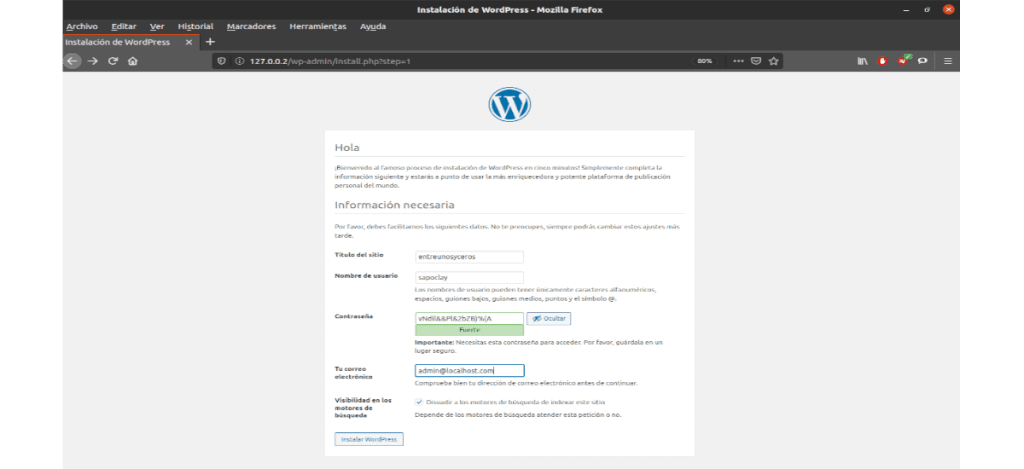 configuración web wordpress usuario y password
