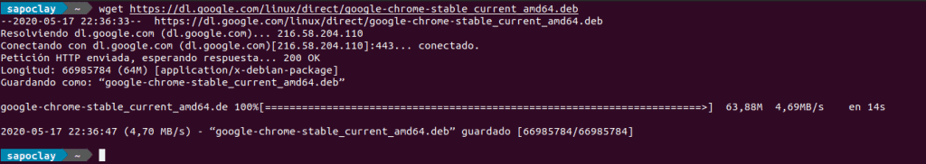 descargar el paquete .deb de Chrome