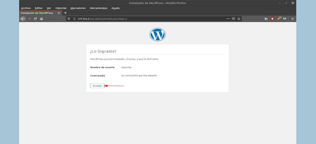 instalación completada de WordPress en Ubuntu 20.04