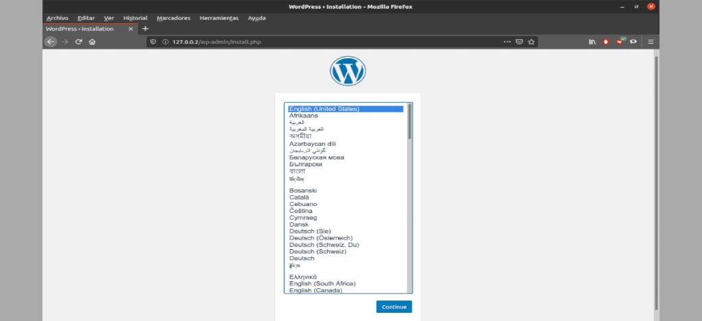 instalación web lenguaje