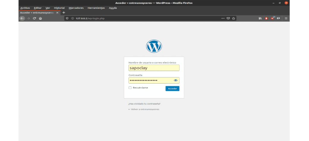 login de WordPress local
