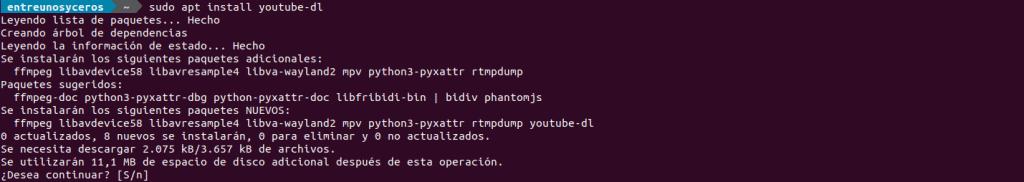 Instalación de youtube-dl
