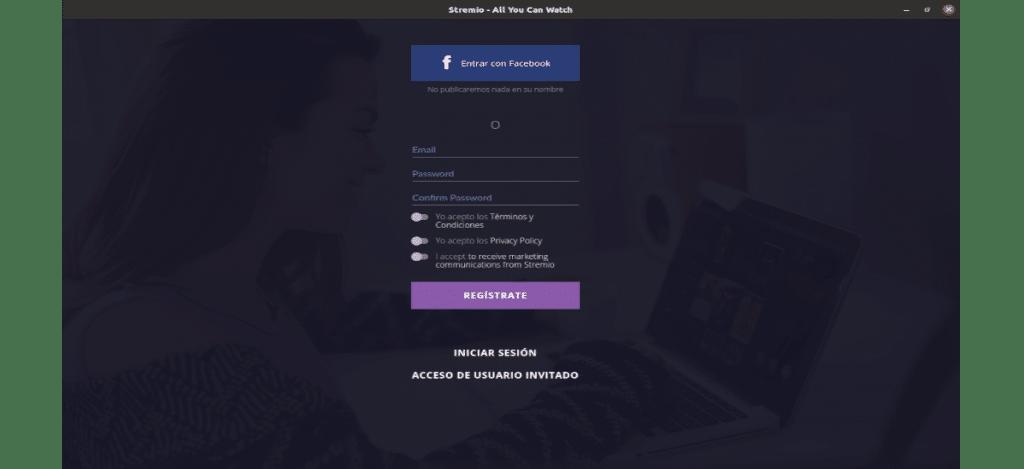 pantalla de inicio de stremio